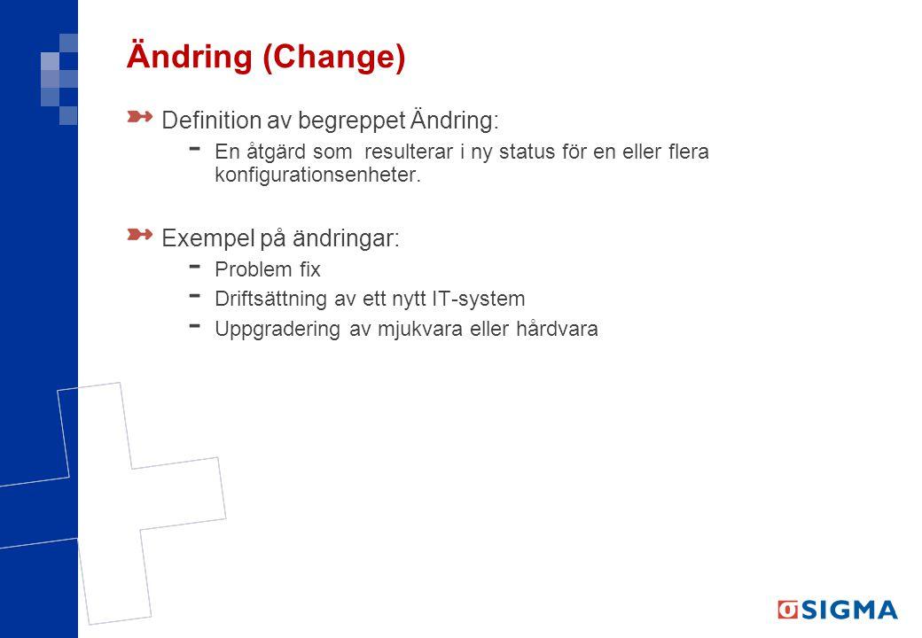Ändring (Change) Definition av begreppet Ändring: