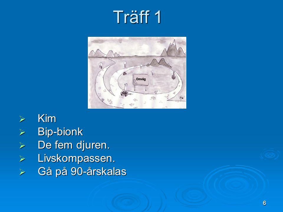 Träff 1 Kim Bip-bionk De fem djuren. Livskompassen. Gå på 90-årskalas