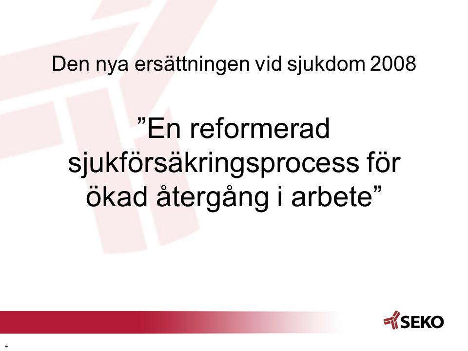 2017-04-03 Den nya ersättningen vid sjukdom 2008 En reformerad sjukförsäkringsprocess för ökad återgång i arbete