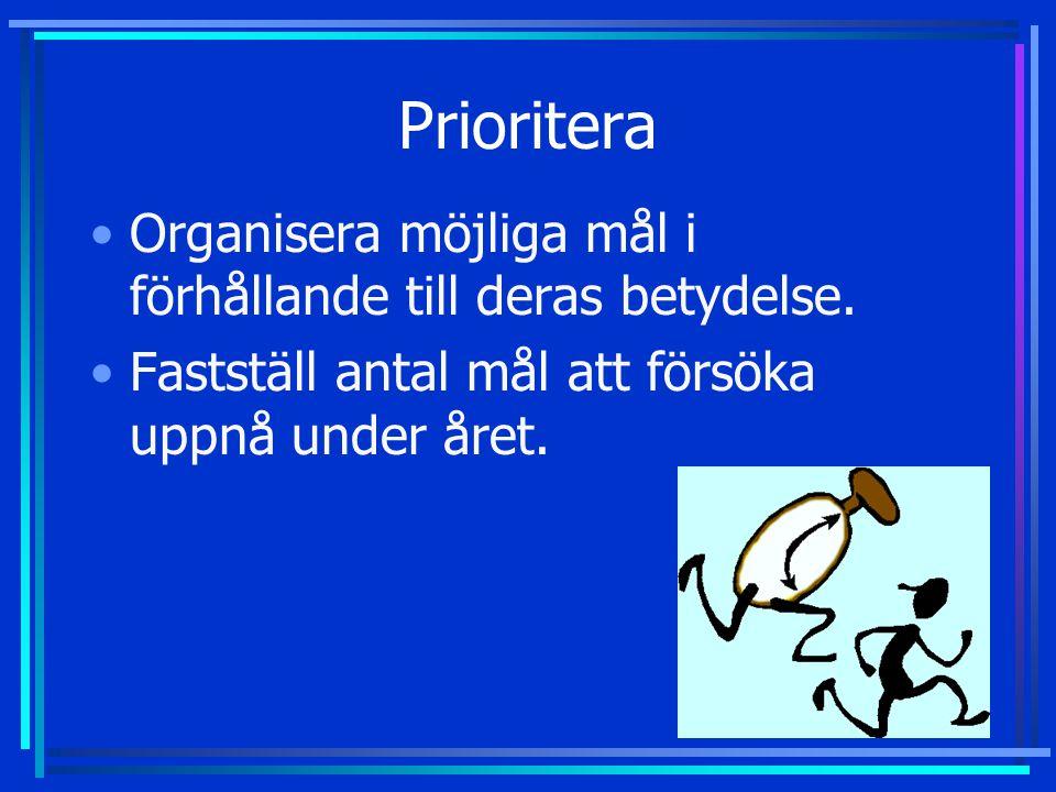 Prioritera Organisera möjliga mål i förhållande till deras betydelse.