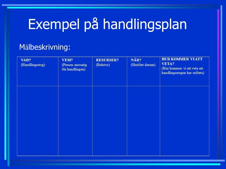 Exempel på handlingsplan Målbeskrivning: