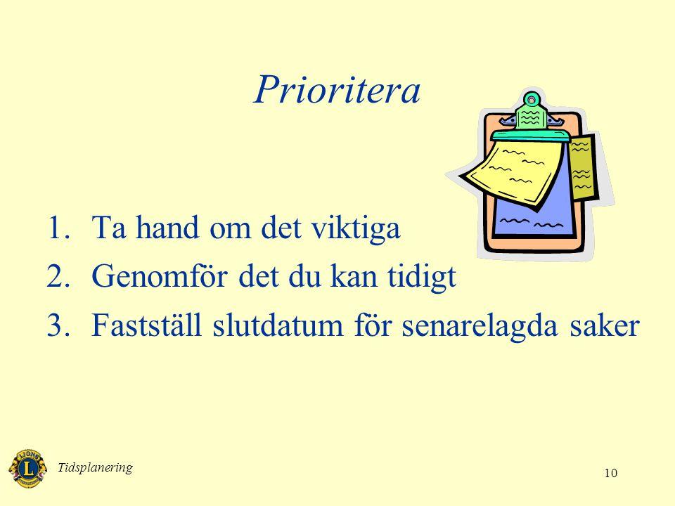 Prioritera Ta hand om det viktiga Genomför det du kan tidigt