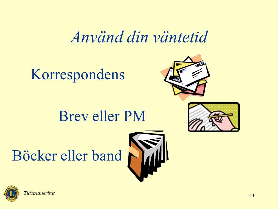 Använd din väntetid Korrespondens Brev eller PM Böcker eller band
