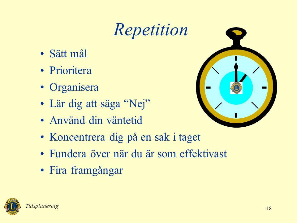 Repetition Sätt mål Prioritera Organisera Lär dig att säga Nej