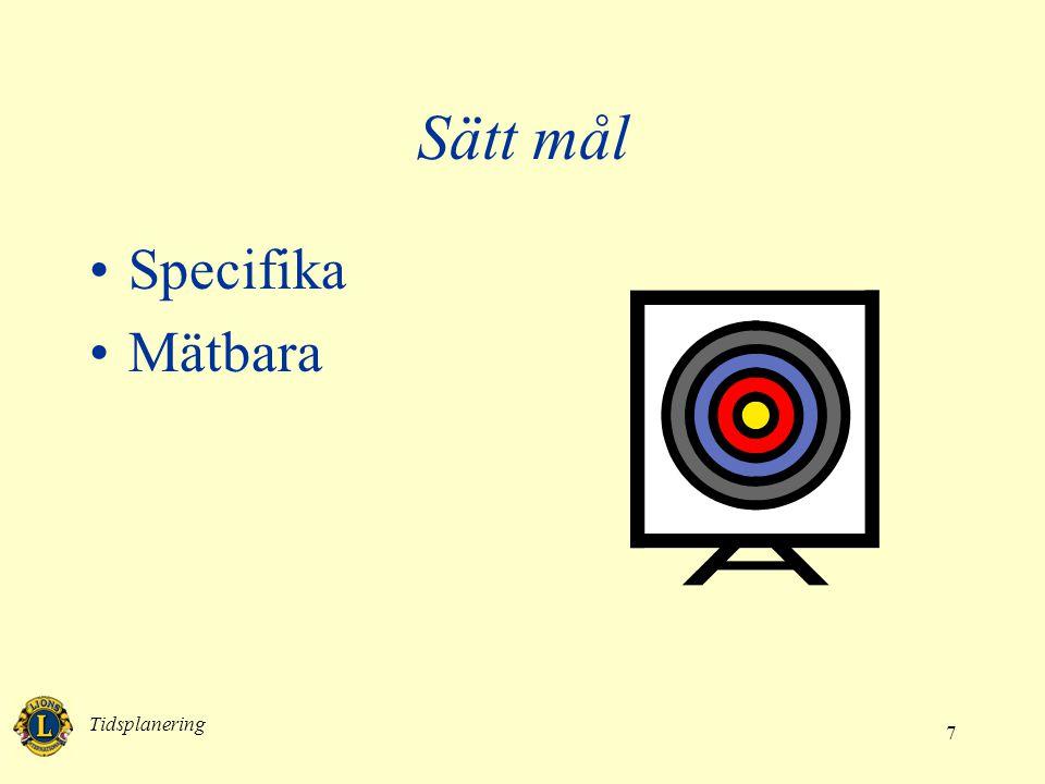 Sätt mål Specifika Mätbara Tidsplanering