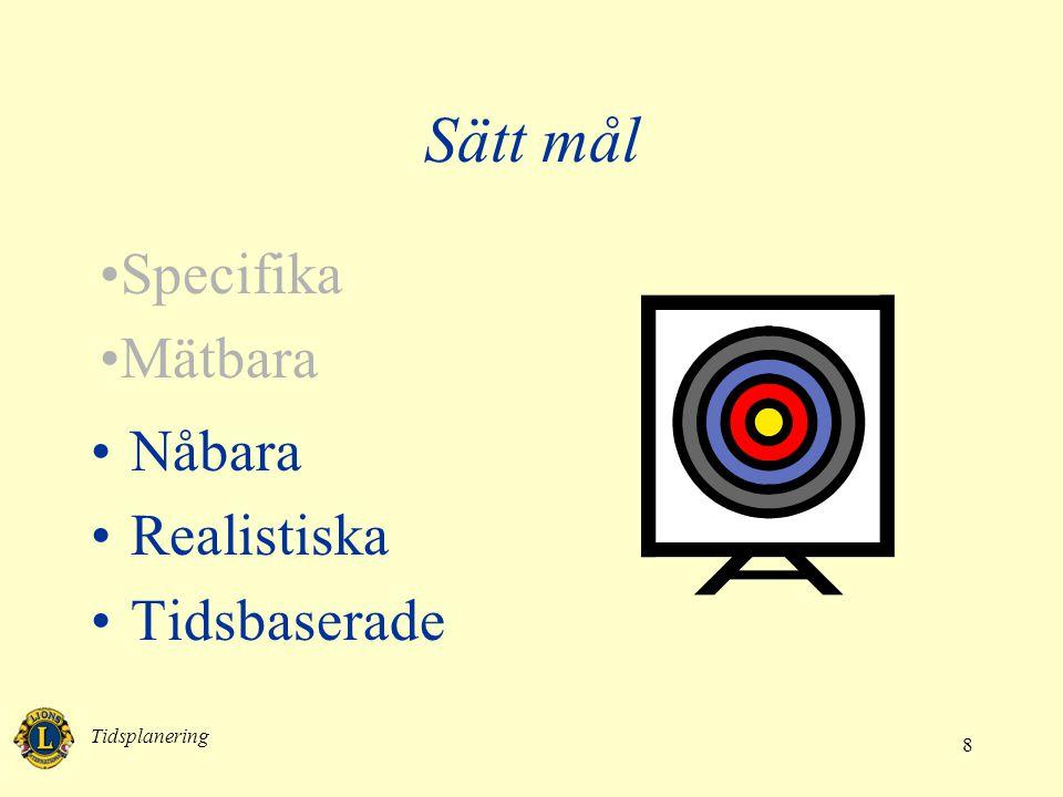 Sätt mål Specifika Mätbara Nåbara Realistiska Tidsbaserade