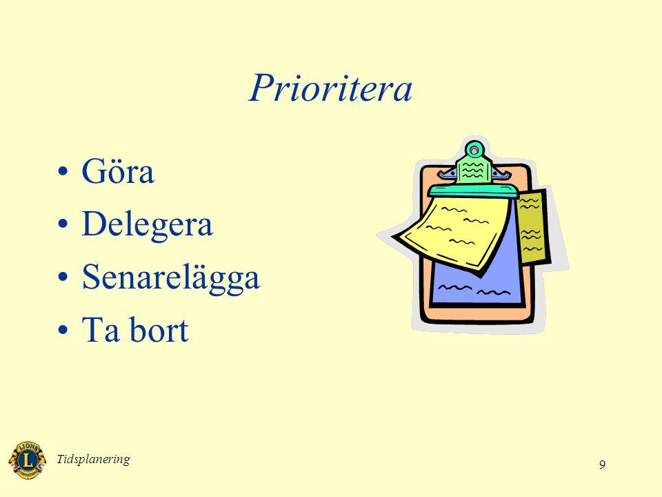 Prioritera Göra Delegera Senarelägga Ta bort Tidsplanering