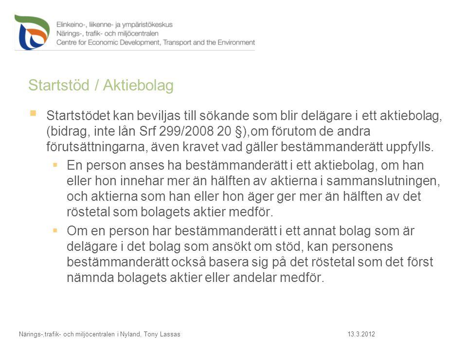 Startstöd / Aktiebolag