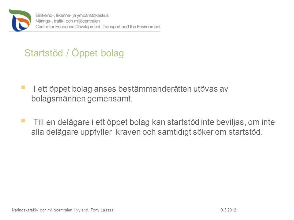 Startstöd / Öppet bolag