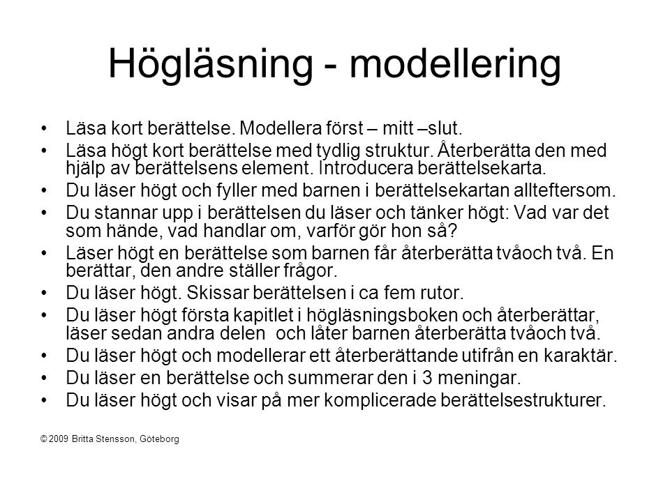 Högläsning - modellering