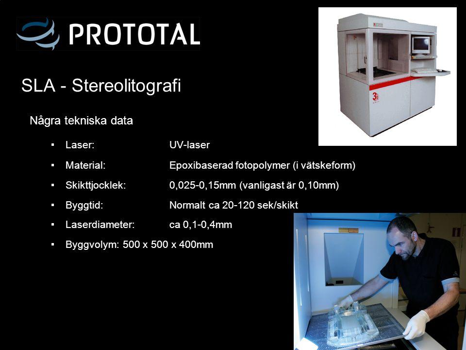 SLA - Stereolitografi Några tekniska data Laser: UV-laser