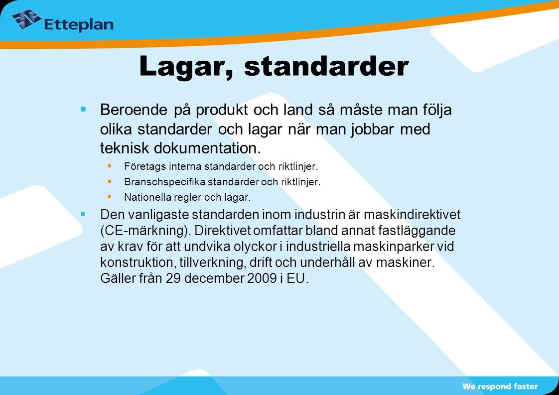 Lagar, standarder Beroende på produkt och land så måste man följa olika standarder och lagar när man jobbar med teknisk dokumentation.