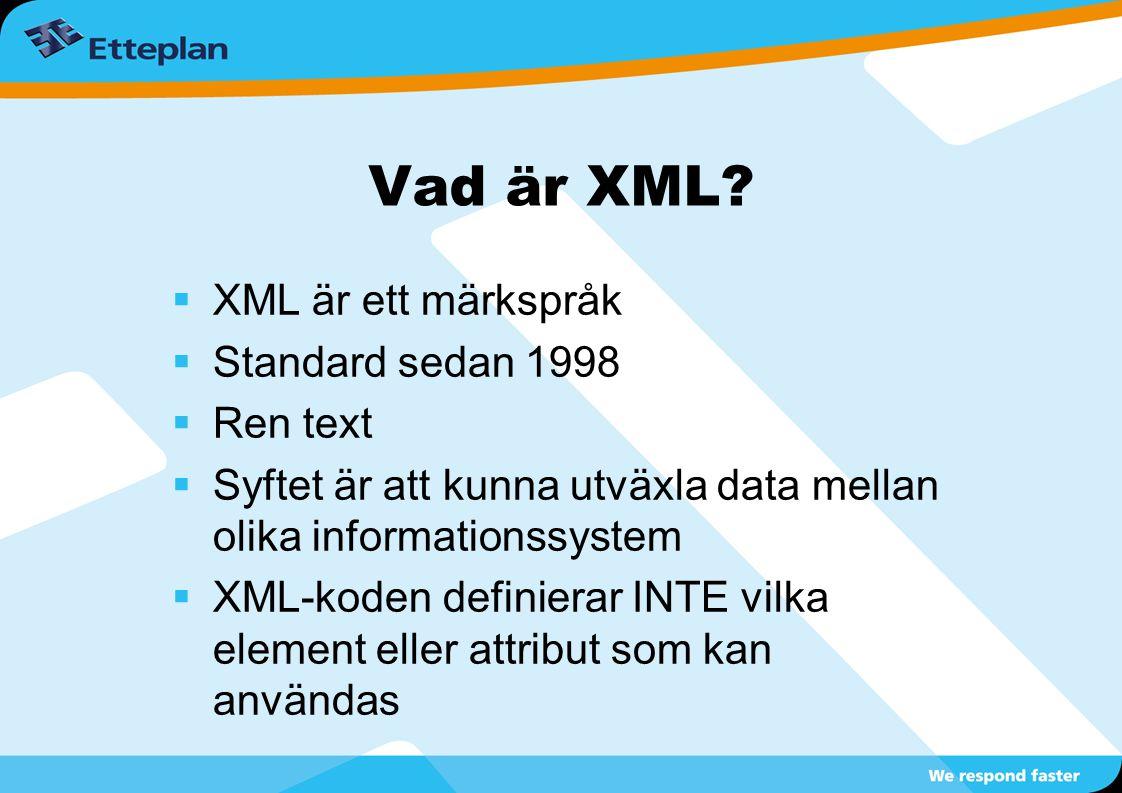 Vad är XML XML är ett märkspråk Standard sedan 1998 Ren text
