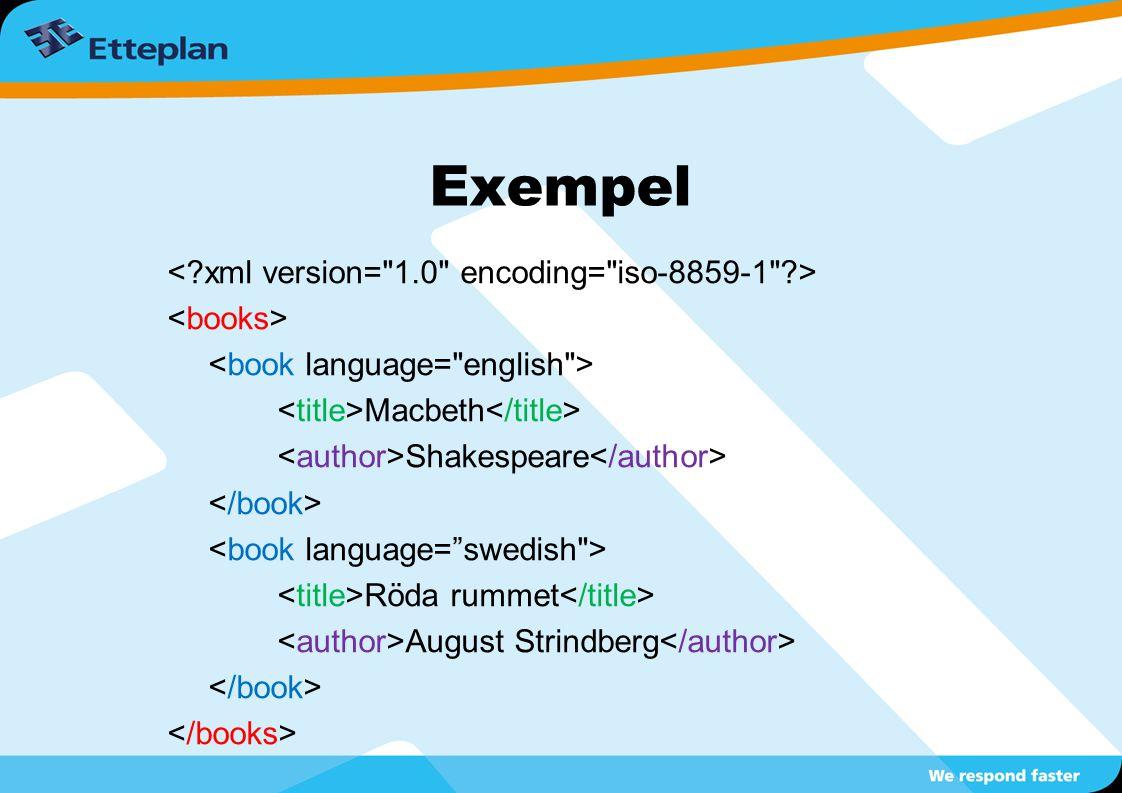 Exempel < xml version= 1.0 encoding= iso-8859-1 >