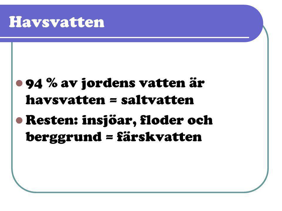 Havsvatten 94 % av jordens vatten är havsvatten = saltvatten