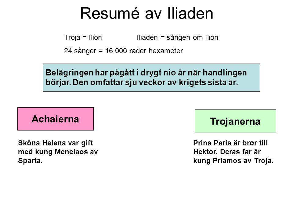 Resumé av Iliaden Achaierna Trojanerna