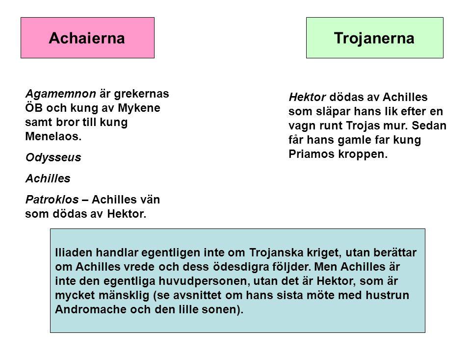Achaierna Trojanerna. Agamemnon är grekernas ÖB och kung av Mykene samt bror till kung Menelaos. Odysseus.