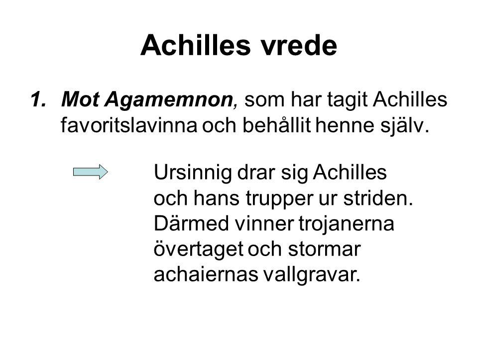 Achilles vrede Mot Agamemnon, som har tagit Achilles favoritslavinna och behållit henne själv.