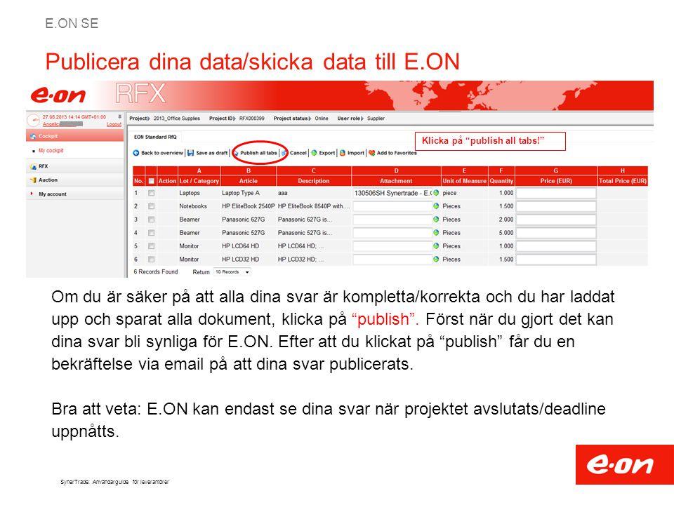 Publicera dina data/skicka data till E.ON