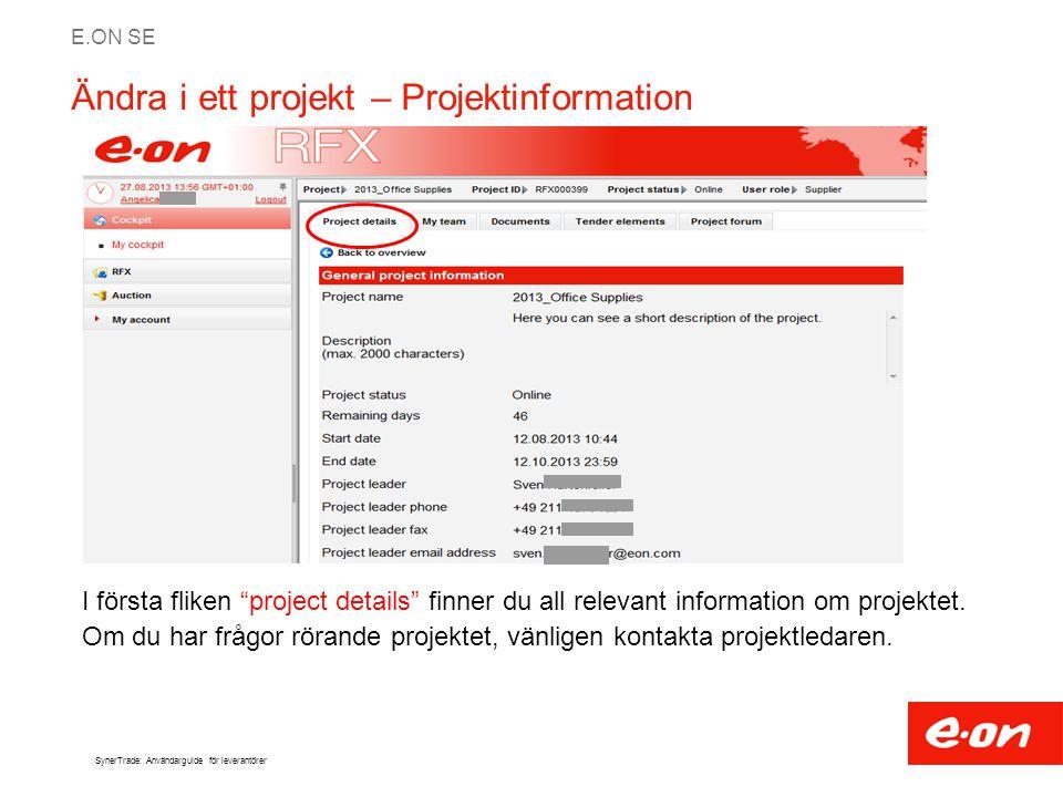 Ändra i ett projekt – Projektinformation