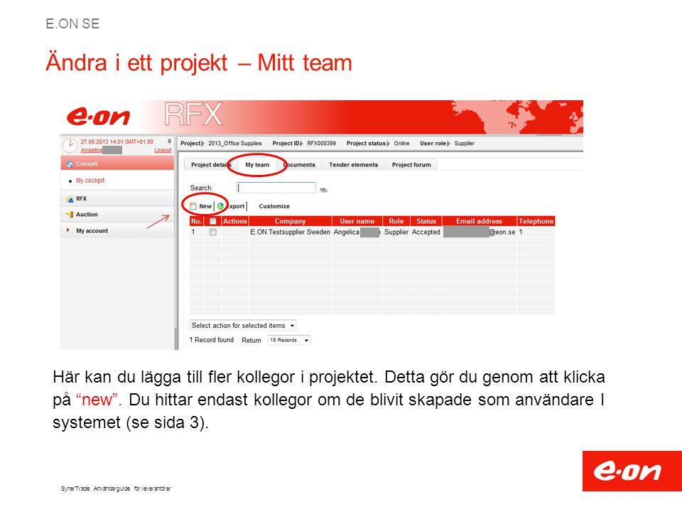 Ändra i ett projekt – Mitt team