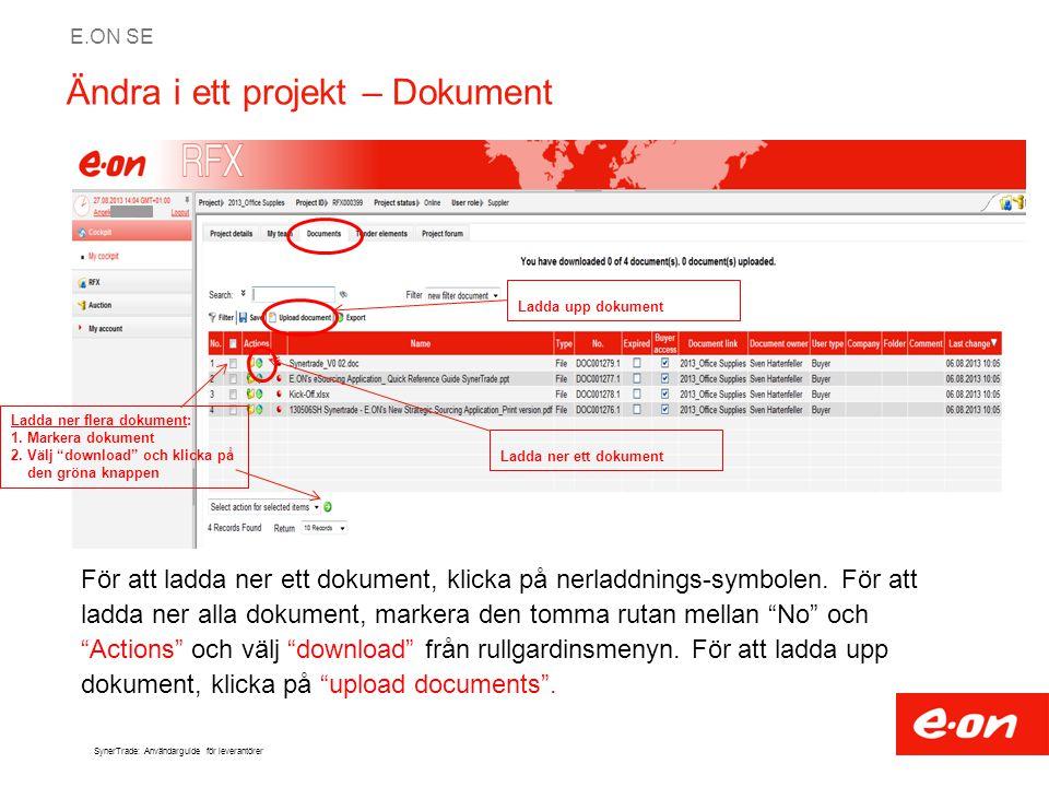 Ändra i ett projekt – Dokument