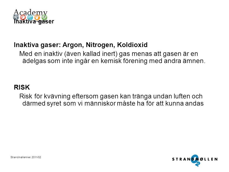 Inaktiva gaser: Argon, Nitrogen, Koldioxid