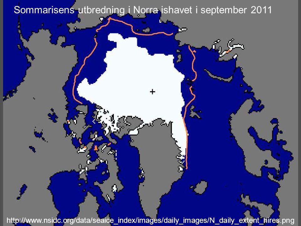 Sommarisens utbredning i Norra ishavet i september 2011