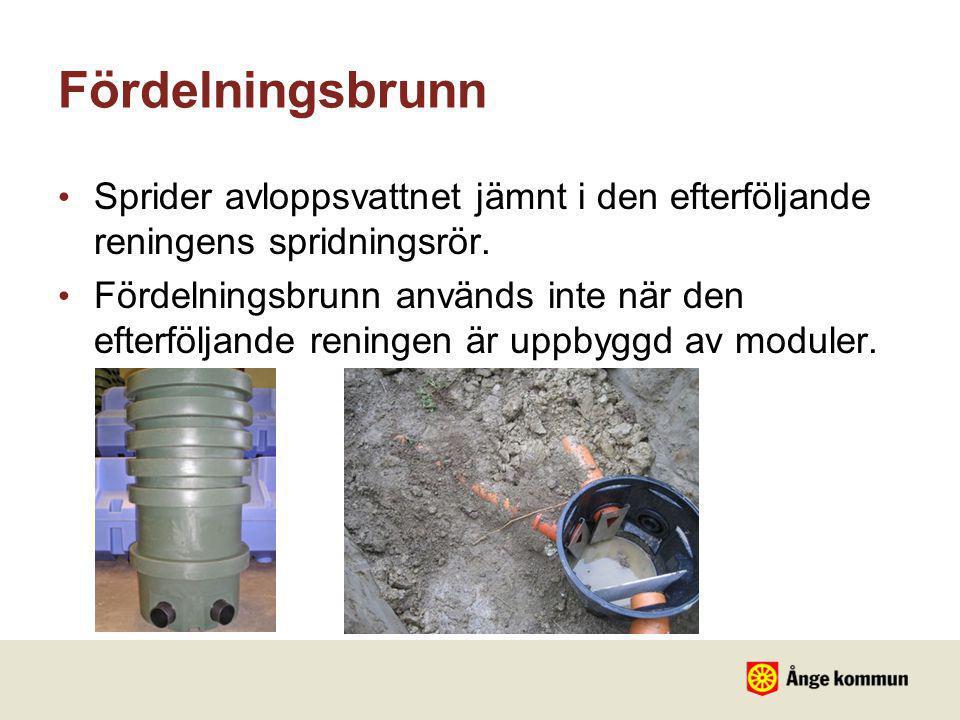 Fördelningsbrunn Sprider avloppsvattnet jämnt i den efterföljande reningens spridningsrör.