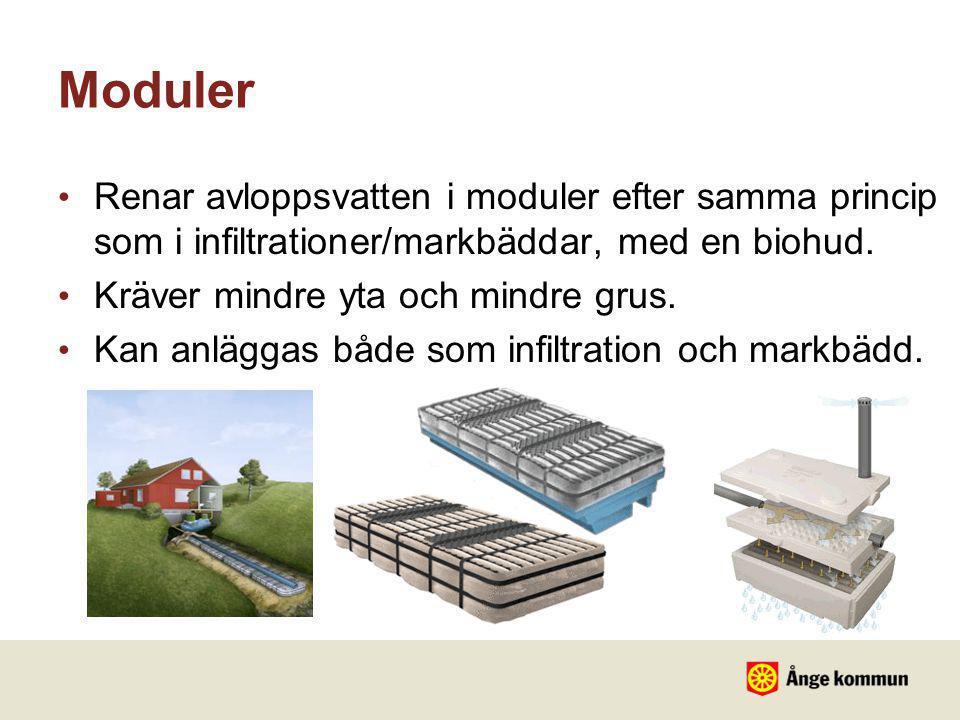Moduler Renar avloppsvatten i moduler efter samma princip som i infiltrationer/markbäddar, med en biohud.