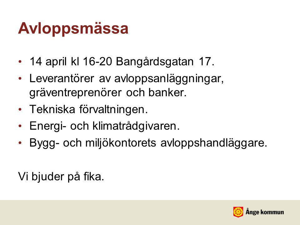 Avloppsmässa 14 april kl 16-20 Bangårdsgatan 17.