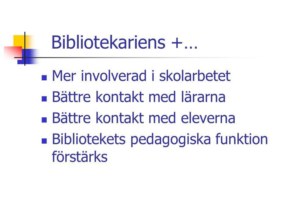 Bibliotekariens +… Mer involverad i skolarbetet