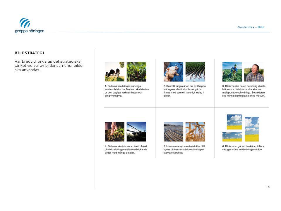 BILDSTRATEGI Här bredvid förklaras det strategiska tänket vid val av bilder samt hur bilder ska användas.