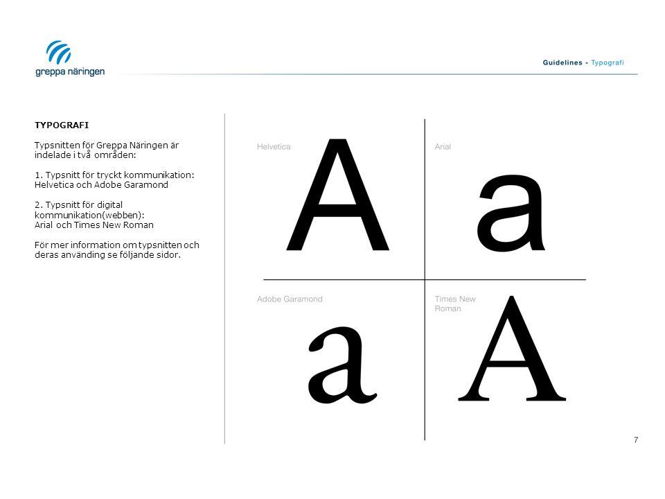 TYPOGRAFI Typsnitten för Greppa Näringen är indelade i två områden: 1. Typsnitt för tryckt kommunikation: