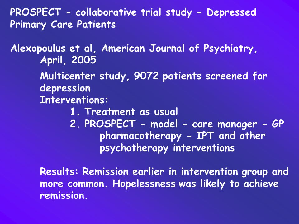 PROSPECT - collaborative trial study - Depressed Primary Care Patients