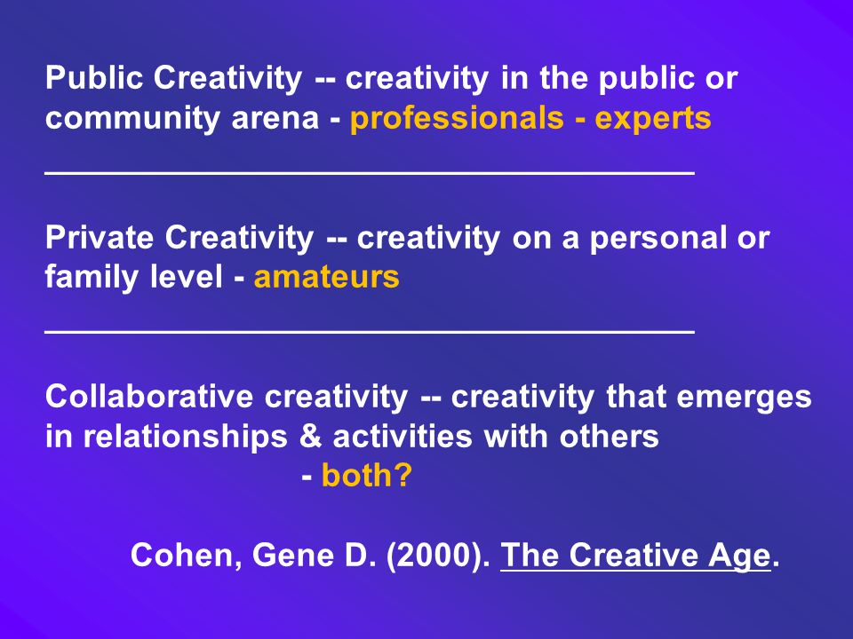 Public Creativity -- creativity in the public or community arena - professionals - experts