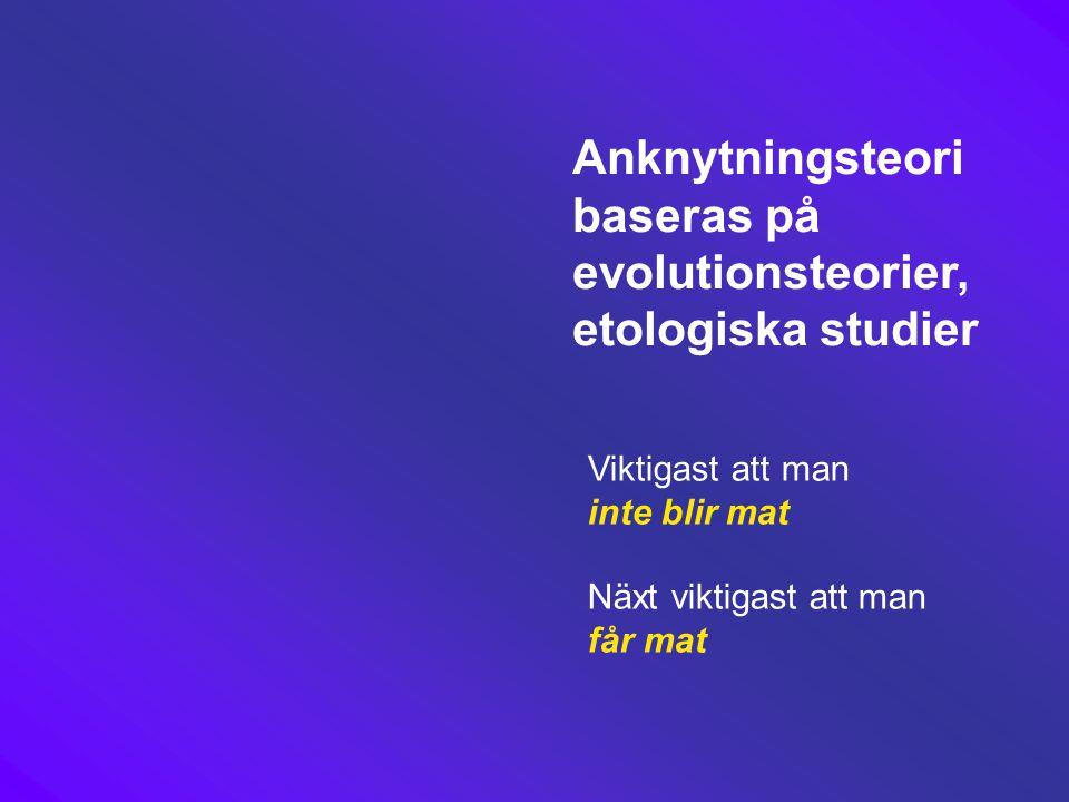 Anknytningsteori baseras på evolutionsteorier, etologiska studier