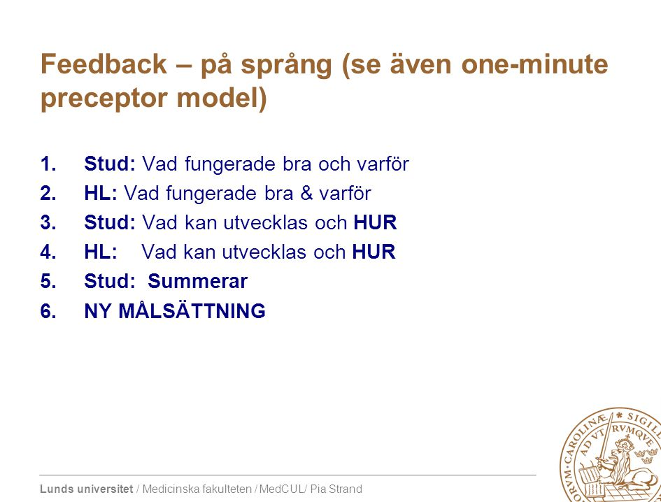 Feedback – på språng (se även one-minute preceptor model)