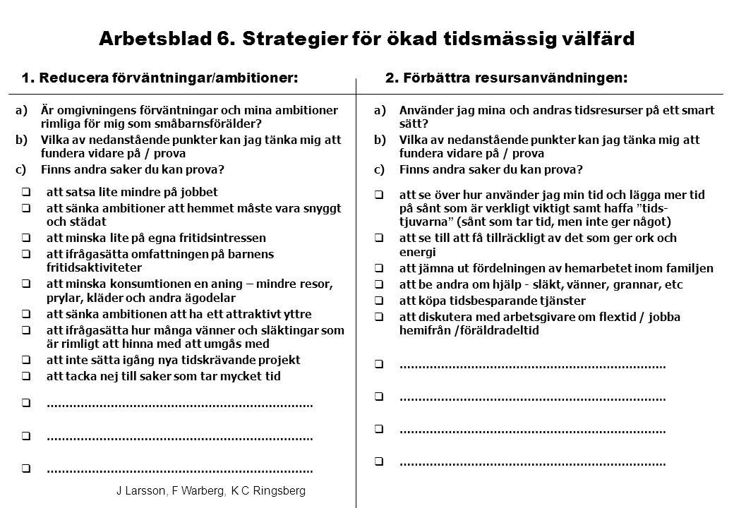 Arbetsblad 6. Strategier för ökad tidsmässig välfärd
