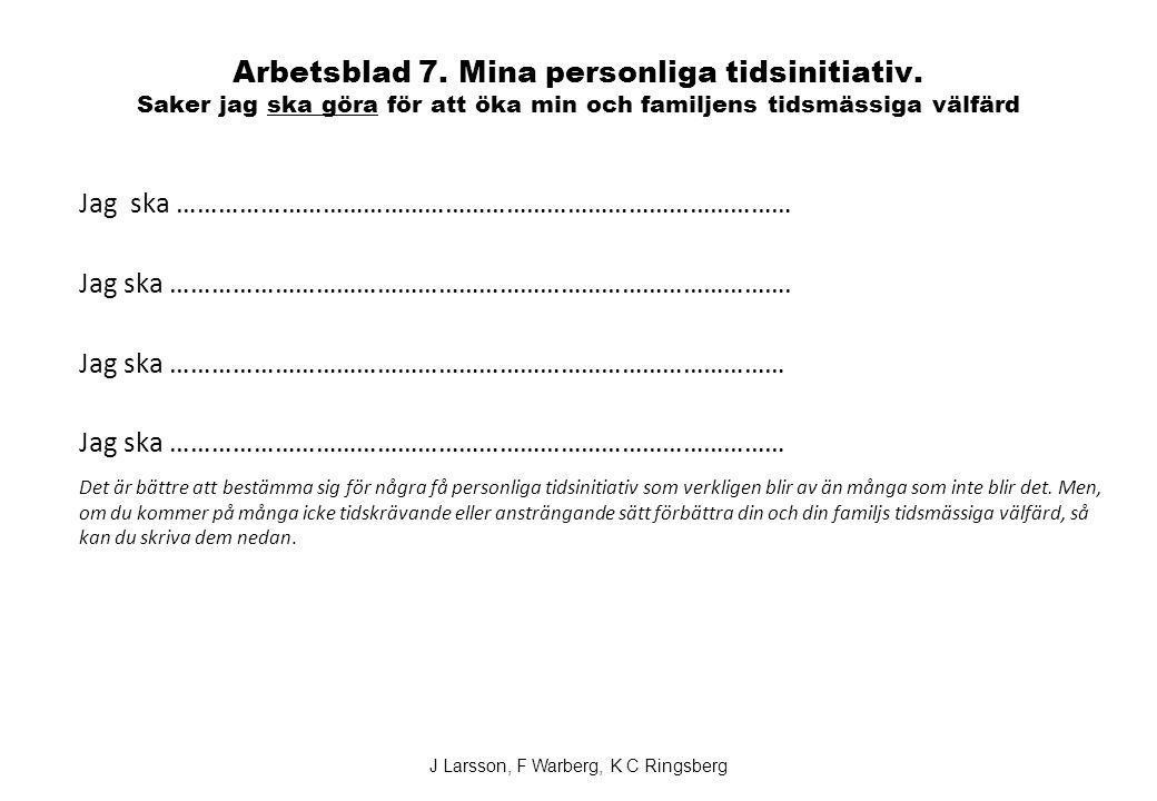 J Larsson, F Warberg, K C Ringsberg