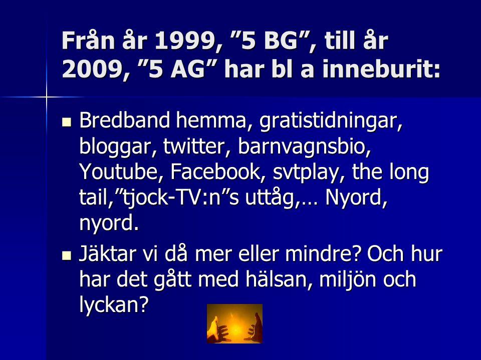 Från år 1999, 5 BG , till år 2009, 5 AG har bl a inneburit: