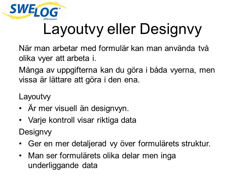 Layoutvy eller Designvy