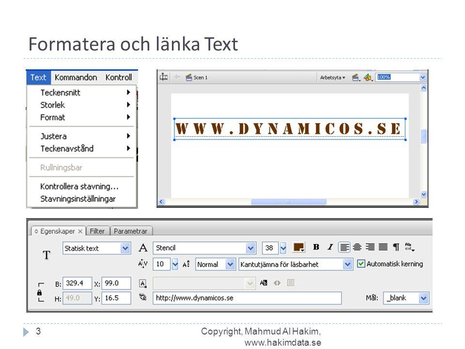Formatera och länka Text