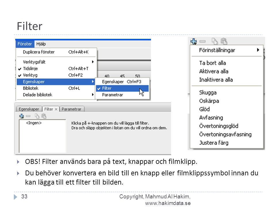 Filter OBS! Filter används bara på text, knappar och filmklipp.