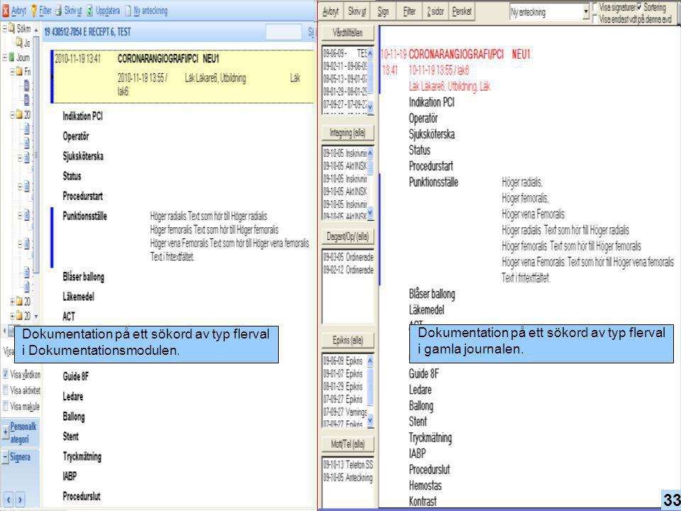 Dokumentation på ett sökord av typ flerval i Dokumentationsmodulen.