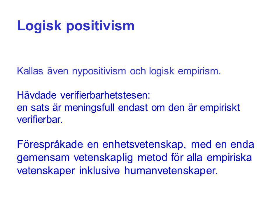 Logisk positivism Kallas även nypositivism och logisk empirism. Hävdade verifierbarhetstesen: