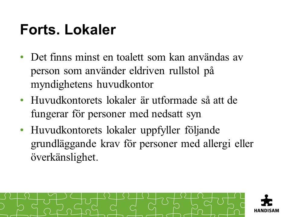 Forts. Lokaler Det finns minst en toalett som kan användas av person som använder eldriven rullstol på myndighetens huvudkontor.