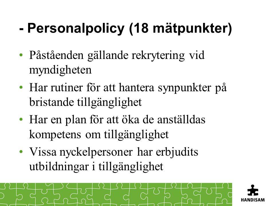 - Personalpolicy (18 mätpunkter)