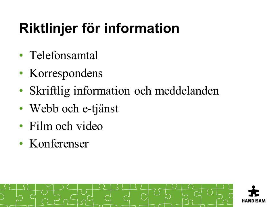Riktlinjer för information