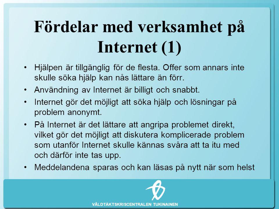 Fördelar med verksamhet på Internet (1)